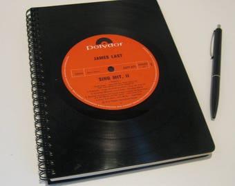 Vintage Notebook laptop blanco from vinyl records DIN A5