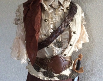 Medium Adult Women's Pirate / Steampunk Pirate Halloween Outfit / Costume With Belts & Jewelry Included -  Medium