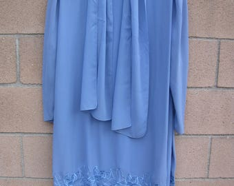 Vtg 80s Ursula Switzerland Blue Formal Party Wedding Prom Dress Embroidered 1X Lagenlook (please check measurements)