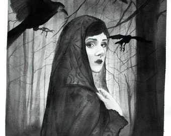 Original 'Woman and 3 Ravens' Painting