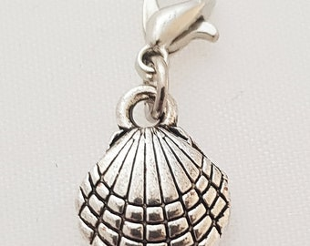 Seashell silver clip on charm