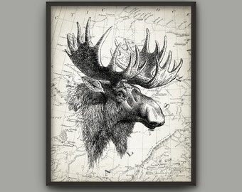 Moose On An Antique Map Of Alaska Print - Moose Poster - Alaska Map - Elk Print - Vintage Moose Illustration Print - Moose Wall Art Picture