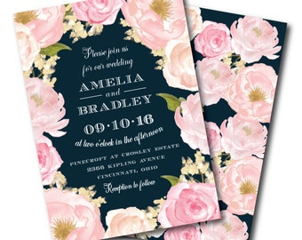 Navy Floral Wedding Invitation, Printable Wedding Invitation, Navy and Pink Wedding Invitation, Floral Wedding Invitation, Navy, Blush