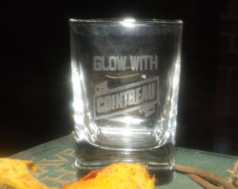 Vintage ( mid 1990s) squared Cointreau single shot glass. Etched-glass logo and type, weighted base.  Commercial quality glassware.