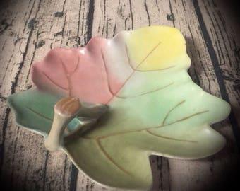vintage ceramic leaf plate pastel with gold veins and trim