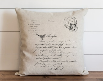 French Letter 20 x 20 Pillow Cover // Everyday // Vintage // Throw Pillow // Gift // Accent Pillow // Cushion Cover