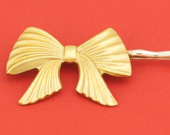 Large Brass Bow Tie Hairpin