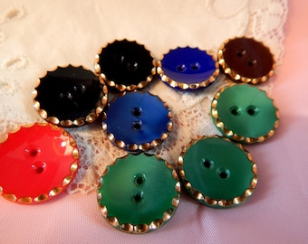 Colorful Two Hole Glass Buttons with Gold Painted Edges