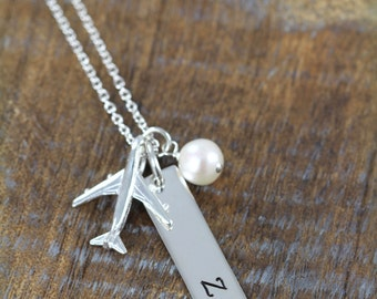 Flight Attendant Aviation Jewelry, Airport Code Necklace, Airplane Necklaces, Personalized Gift for Pilot Flight Attendant