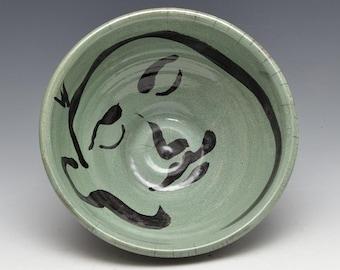 Große grüne Buddha Gesicht Servier Schüssel in Raku-Keramik