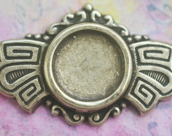 12mm Bezel in Ornate Brass Frame, Brass Ox, Brass Stampings Made in the USA