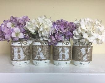 Baby Shower Centerpieces, Nursery Decor, Gender Neutral, Gender Reveal Party, Burlap Mason Jars, Rustic Centerpieces, BABY Mason Jars