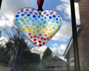 Glass spotty Rainbow heart suncatcher