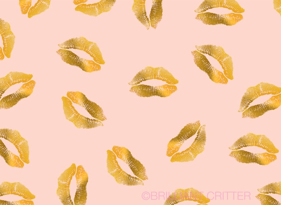 Lips Desktop Background Art Gold Foil Cute Computer