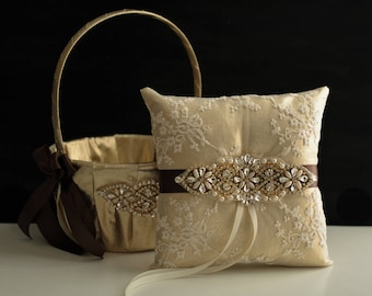Brown Ring Bearer Pillow, Gold Flower Girl Basket, Gold Brown Wedding Pillow, Gold Wedding Basket Pillow Set, Brown Gold Bearer Pillow