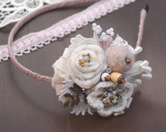 Wedding tiara Textile crown White headband Bridal tiara Crowns and tiaras Lace Headband Bridal flower crown Bridal halo Fairytale wedding