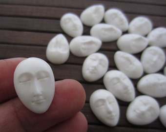 Small  Oval Face Cabochon with  closed eyes  ,Buffalo  Bone Carving, Embellishment, Cabochon for setting S5910