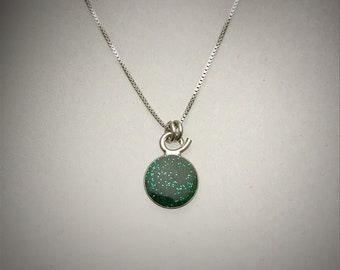 Tiny Sterling Emerald Green Resin Necklace