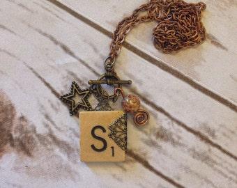 Scrabble Tile S Initial Necklace