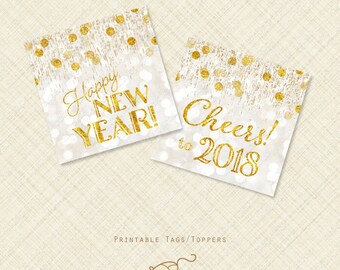 New Years Eve Cupcake Topper Favor Tag Printable tags Gold effect bokeh champagne bubbles cheers instant download digital stickers 2018 2017