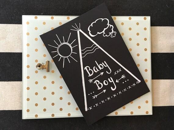 Chalkboard Stock Paper Original Art Print / Baby Boy / Unframed Print / Shower Gift / Baby Boy Gift