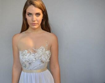 Boho wedding dress, beaded embroidery, open back wedding dress