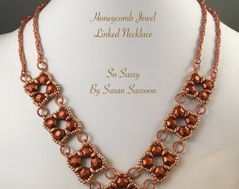 Honeycomb Jewel Linked Necklace Tutorial