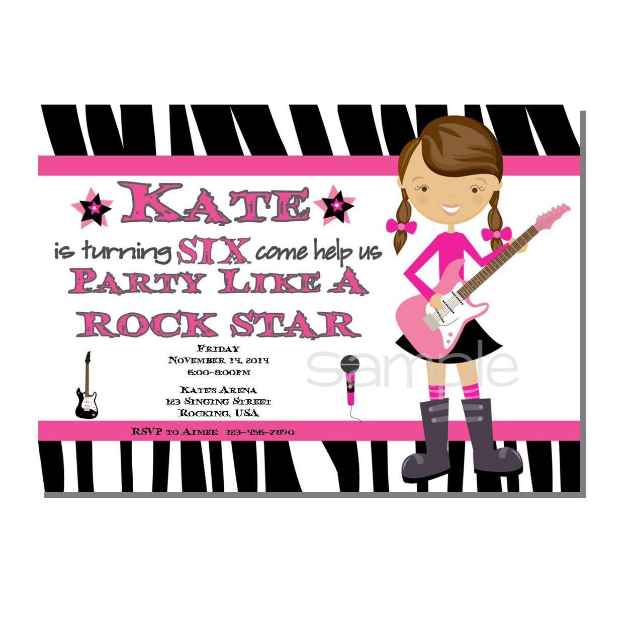Rock Star Invitation Birthday Party DIGITAL or PRINTED