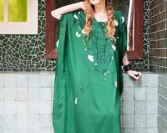 Green Kaftan Dress, Maxi Dress, Plus Size Kaftan Dress, Bridal Kimono Robe, Beach Coverup, Boho Dress, Plus Size Clothing, Beach Dress