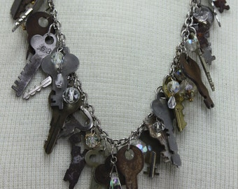 Vintage Keys and Crystals Handcrafted Repurposed Statement Necklace OOAK Gift For Her