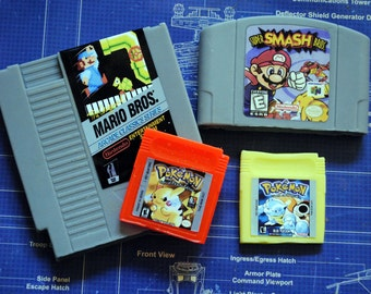 Multi Cart parody Soap Pack - NES Cart Soap, N64 Cart Soap, 2 x Gameboy Cart Soap - Mario - Retro and geeky! nerdy, retro gamer