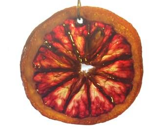 Real Blood Orange Slice Necklace