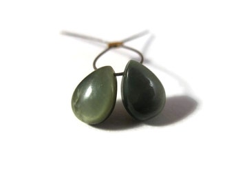Two Chrysoberyl Beads, 2 Matching Cats Eye Briolettes, Natural Gemstone Beads, 7x5mm - 9x6mm, Smooth Teardrops (PT-Ce1)