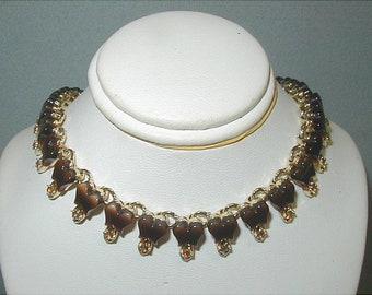 Delicate Brown Thermoset and Aurora Necklace
