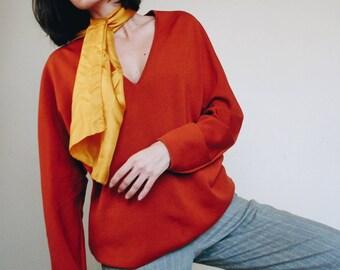 Vintage Burnt Orange Deep V Neck Sweater || 1970's Saint Joseph Pull Over Sweater || Made in France