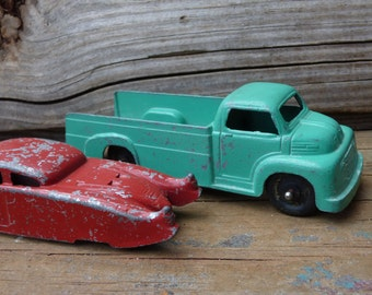2 Vintage Toy cars Tootsie & Midge Toy Ford truck Red sports car vehicle Diecast metal automobile