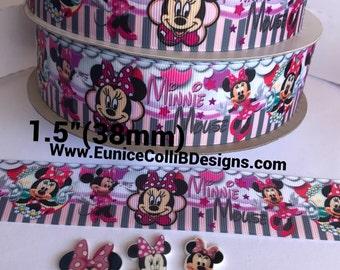 "1.5""(38 mm) Minnie inspired grosgrain ribbon"
