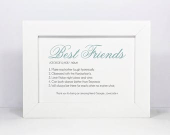 Framed Personalised Name And Definition Print | Friend | Best Friend Gift | Mum Gift | Dad Gift | Sister | Brother | Husband | Wife | Family