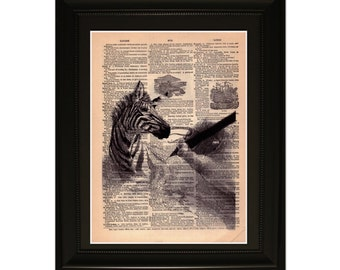"Stripes"".Dictionary Art Print. Vintage Upcycled Antique Book Page. Fits 8""x10"" frame"