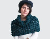 Chunky Knit Cowl Scarf - Thick Knit Infinity Scarf - Body Wrap with Bubbles in Peacock - Women's Fall Accessories | The Ophelia Cowl |