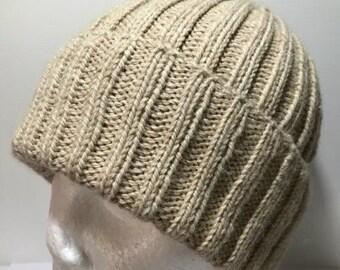 Hand Knitted Merino Alpaca Blend Classic Ribbed Beanie
