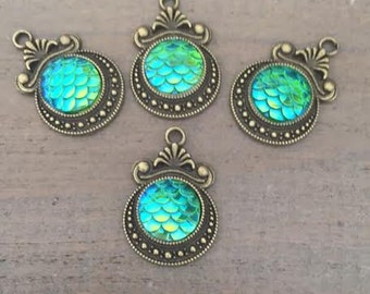 4 Mermaid Scales Charms, mermaid charms, pendants, sea life charms, nautical, ocean life