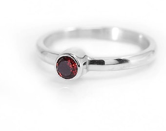 Garnet Ring | January Birthstone Ring | Red Garnet Jewelry | 925 Sterling Silver Ring | Gemstone Ring | Stacking Ring | UK