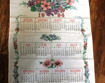 1994 Flowers Tea Towel Calendar