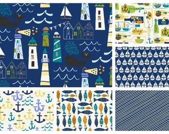 Seaside Fabric Collection Baum Windham  Fat Quarter Bundle Cotton Nautical Quilting Sewing Fabrics