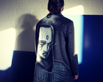 Upcycling, Graffiti Art Gray Alternative Men Coat L, XL, Mens Urban Clothing, Exclusive, Hand-painted, Sustainable Clothing, Indie Clothes