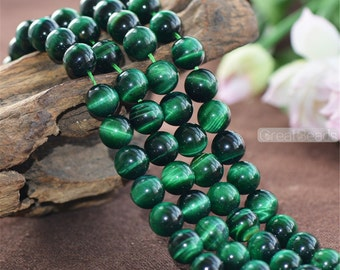 Grade A Natural Green Tiger's Eye Beads Enhanced Color 6mm-12mm Smooth Polished Round 15 Inch Strand TE19