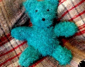 Handmade, hand knitted soft fluffy teddy bear - turquoise