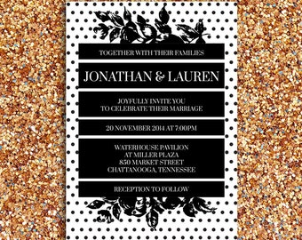 Bold, Fun, Modern, Black and White Wedding Invitation | DIY Printable Digital File