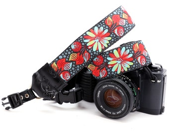 Red Floral DSLR Camera Strap with Camera Hand Strap -- 1.5 inches wide -- The 'Sally' Custom Camera Strap